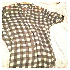 Checkered trendy sheer blouse